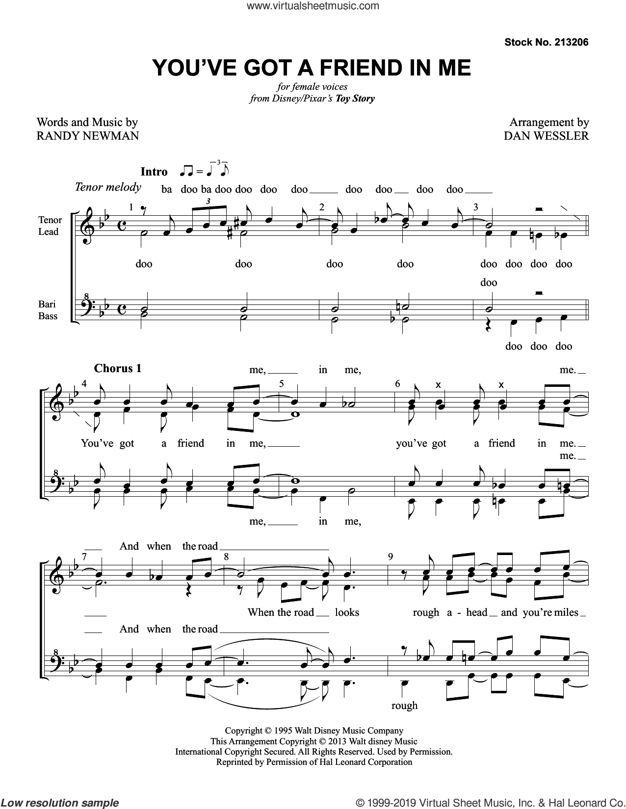 You've Got A Friend In Me (from Toy Story) (arr. Dan Wessler) sheet music for choir (SSA: soprano, alto) by Randy Newman and Dan Wessler, intermediate skill level
