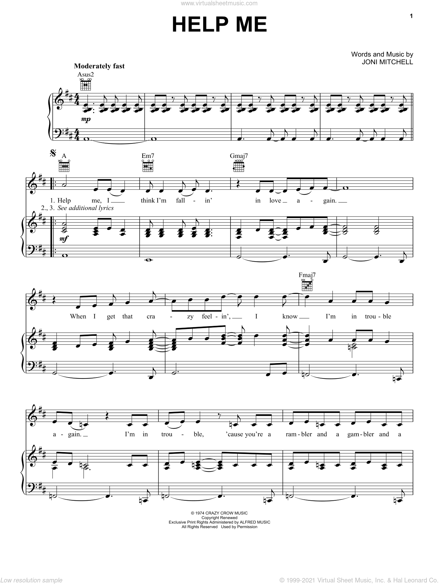 Help Me sheet music for voice, piano or guitar by Joni Mitchell, intermediate skill level