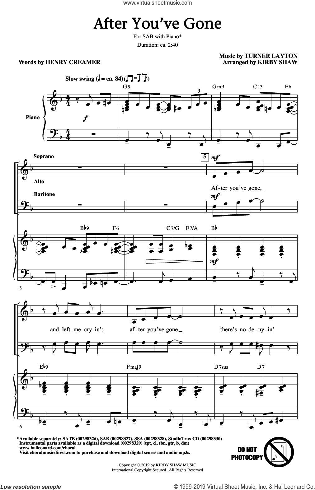 After You've Gone (from One Mo' Time) (arr. Kirby Shaw) sheet music for choir (SAB: soprano, alto, bass) by Henry Creamer, Kirby Shaw, Henry Creamer and Turner Layton and Turner Layton, intermediate skill level