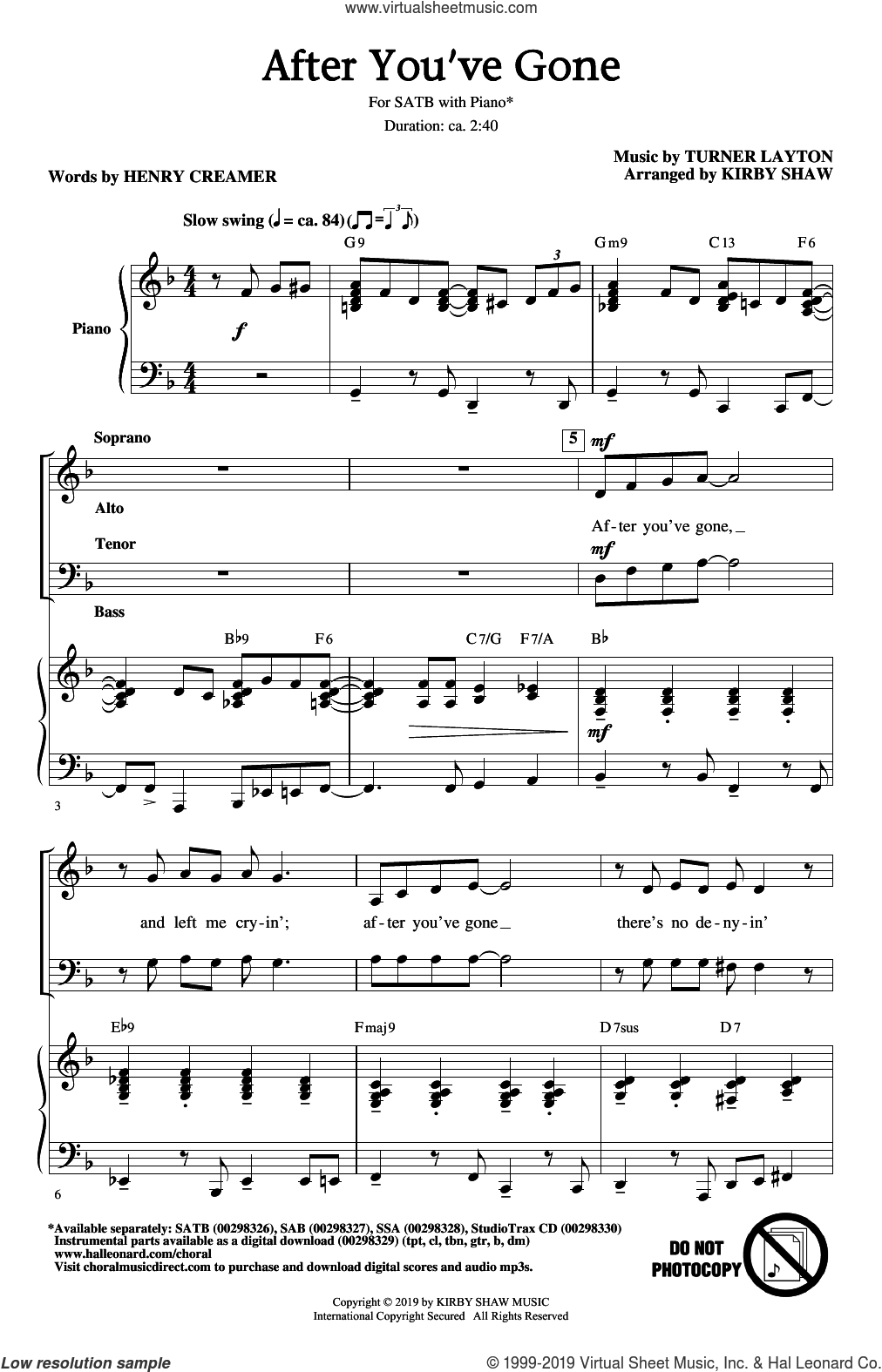 After You've Gone (from One Mo' Time) (arr. Kirby Shaw) sheet music for choir (SATB: soprano, alto, tenor, bass) by Henry Creamer, Kirby Shaw, Henry Creamer and Turner Layton and Turner Layton, intermediate skill level