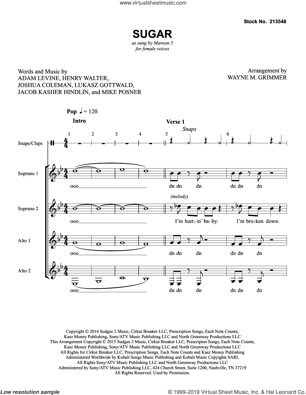 Sugar (arr. Wayne Grimmer) sheet music for choir (SSAA: soprano, alto) by Maroon 5, Wayne M. Grimmer, Adam Levine, Henry Walter, Jacob Kasher Hindlin, Joshua Coleman, Lukasz Gottwald and Mike Posner, intermediate skill level