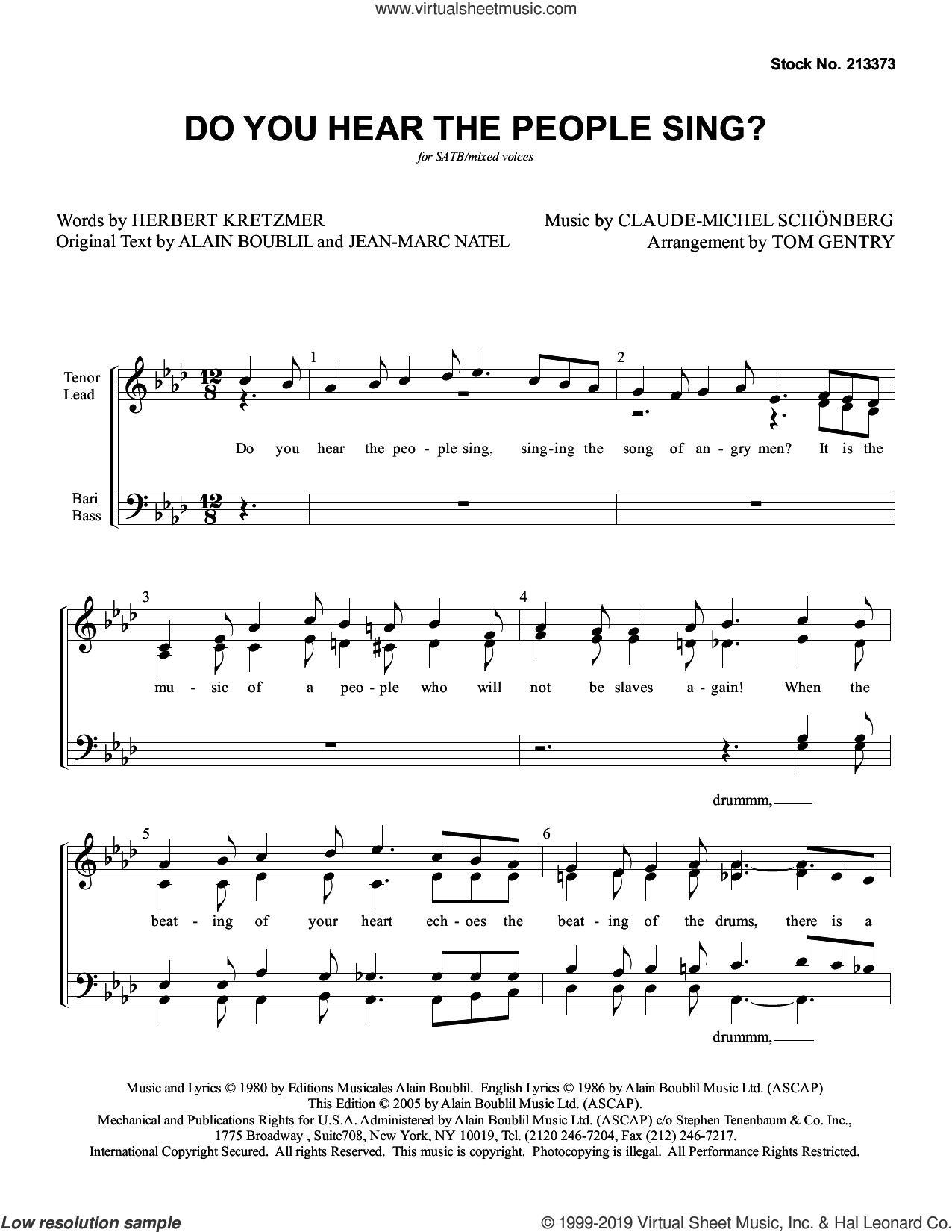 Do You Hear The People Sing? (from Les Miserables) (arr. Tom Gentry) sheet music for choir (SATB: soprano, alto, tenor, bass) by Boublil and Schonberg, Tom Gentry, Alain Boublil, Claude-Michel Schonberg, Herbert Kretzmer and Jean-Marc Natel, intermediate skill level