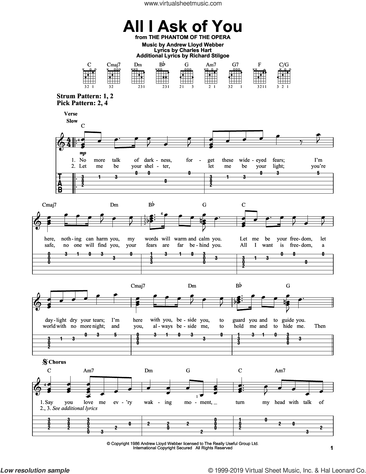 All I Ask Of You (from The Phantom Of The Opera) sheet music for guitar solo (easy tablature) by Andrew Lloyd Webber, Charles Hart and Richard Stilgoe, easy guitar (easy tablature)