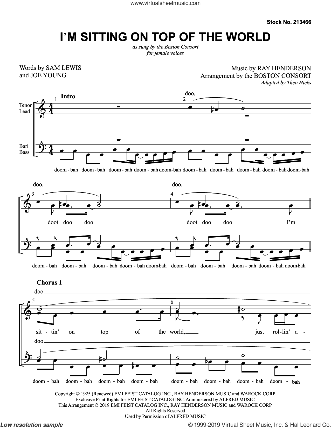 I'm Sitting On Top Of The World (arr. Boston Consort) sheet music for choir (SSAA: soprano, alto) by Boston Consort, Joe Young, Ray Henderson and Sam Lewis, intermediate skill level