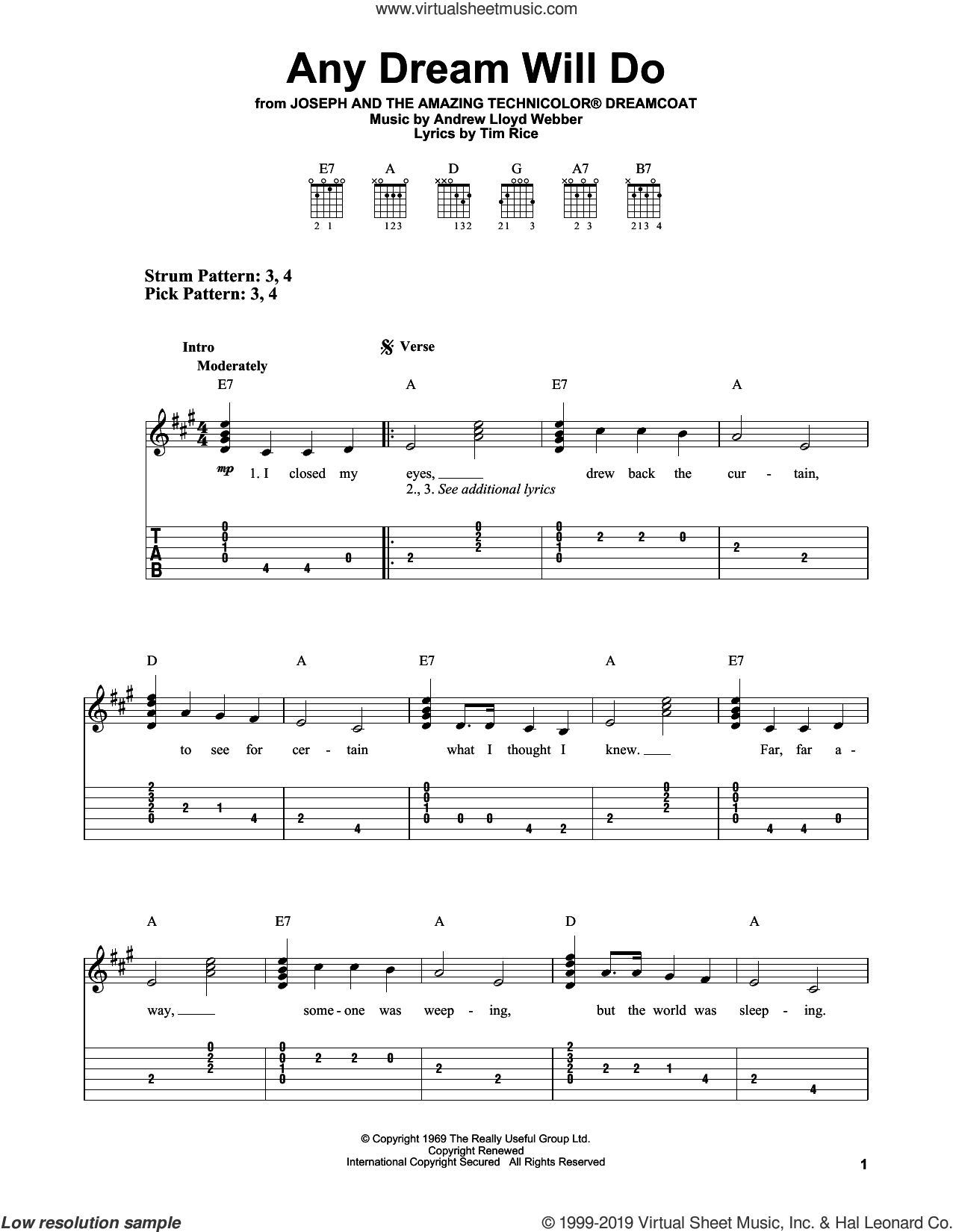 Any Dream Will Do (from Joseph And The Amazing Technicolor Dreamcoat) sheet music for guitar solo (easy tablature) by Andrew Lloyd Webber and Tim Rice, easy guitar (easy tablature)
