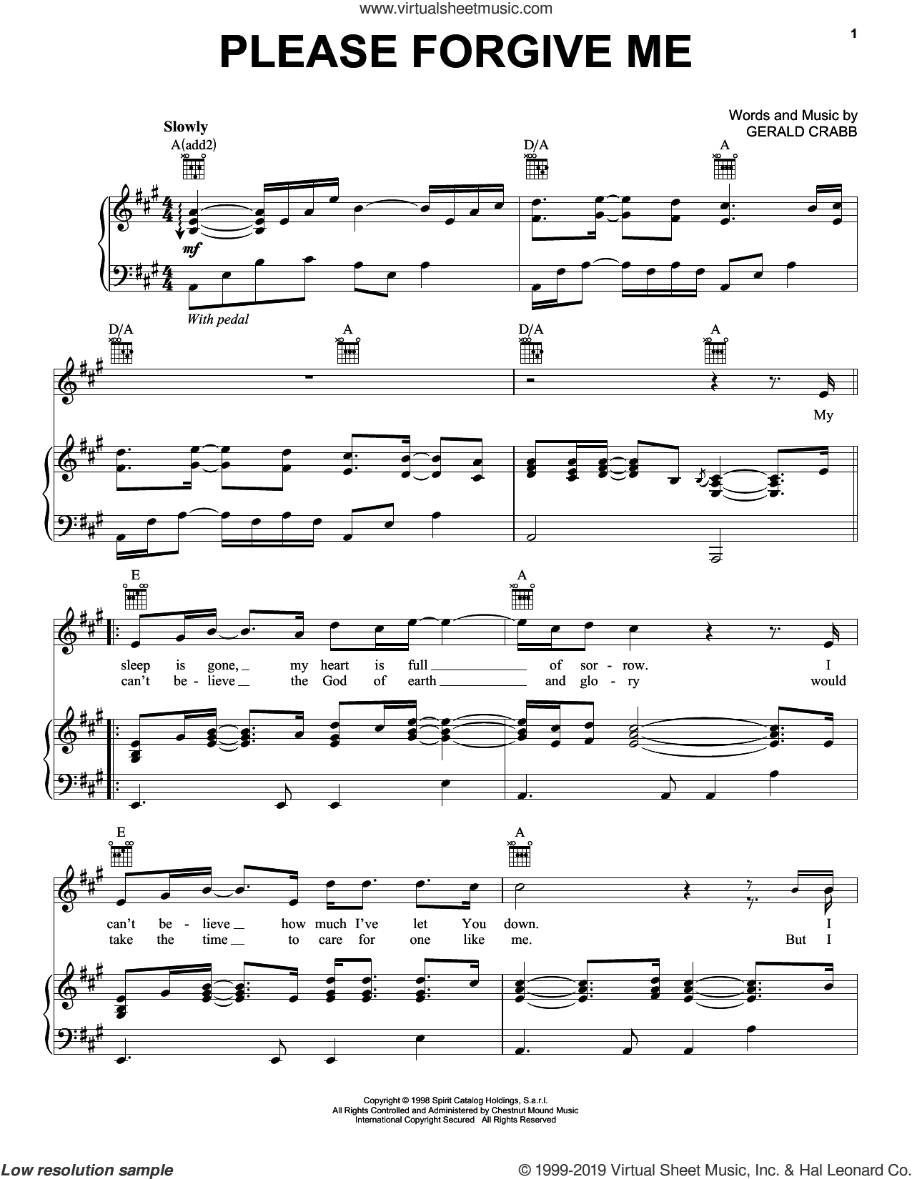 Please Forgive Me sheet music for voice, piano or guitar by The Crabb Family and Gerald Crabb, intermediate skill level
