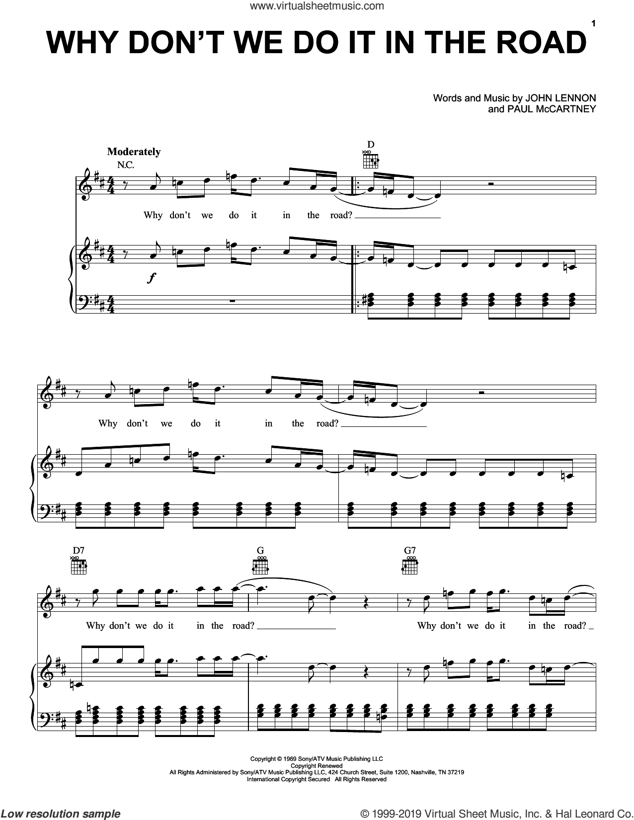 Why Don't We Do It In The Road sheet music for voice, piano or guitar by The Beatles, John Lennon and Paul McCartney, intermediate skill level