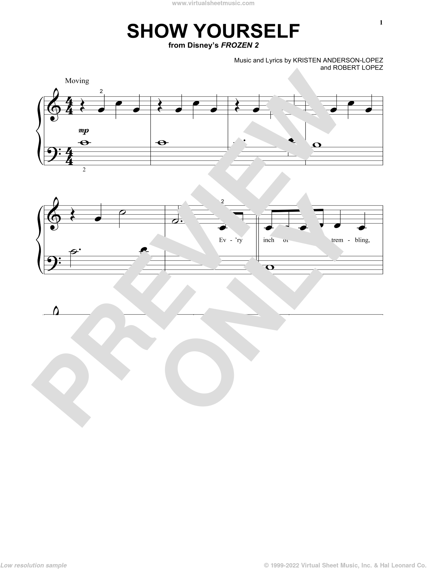 Show Yourself (from Disney's Frozen 2) sheet music for piano solo (big note book) by Idina Menzel and Evan Rachel Wood, Kristen Anderson-Lopez and Robert Lopez, easy piano (big note book)