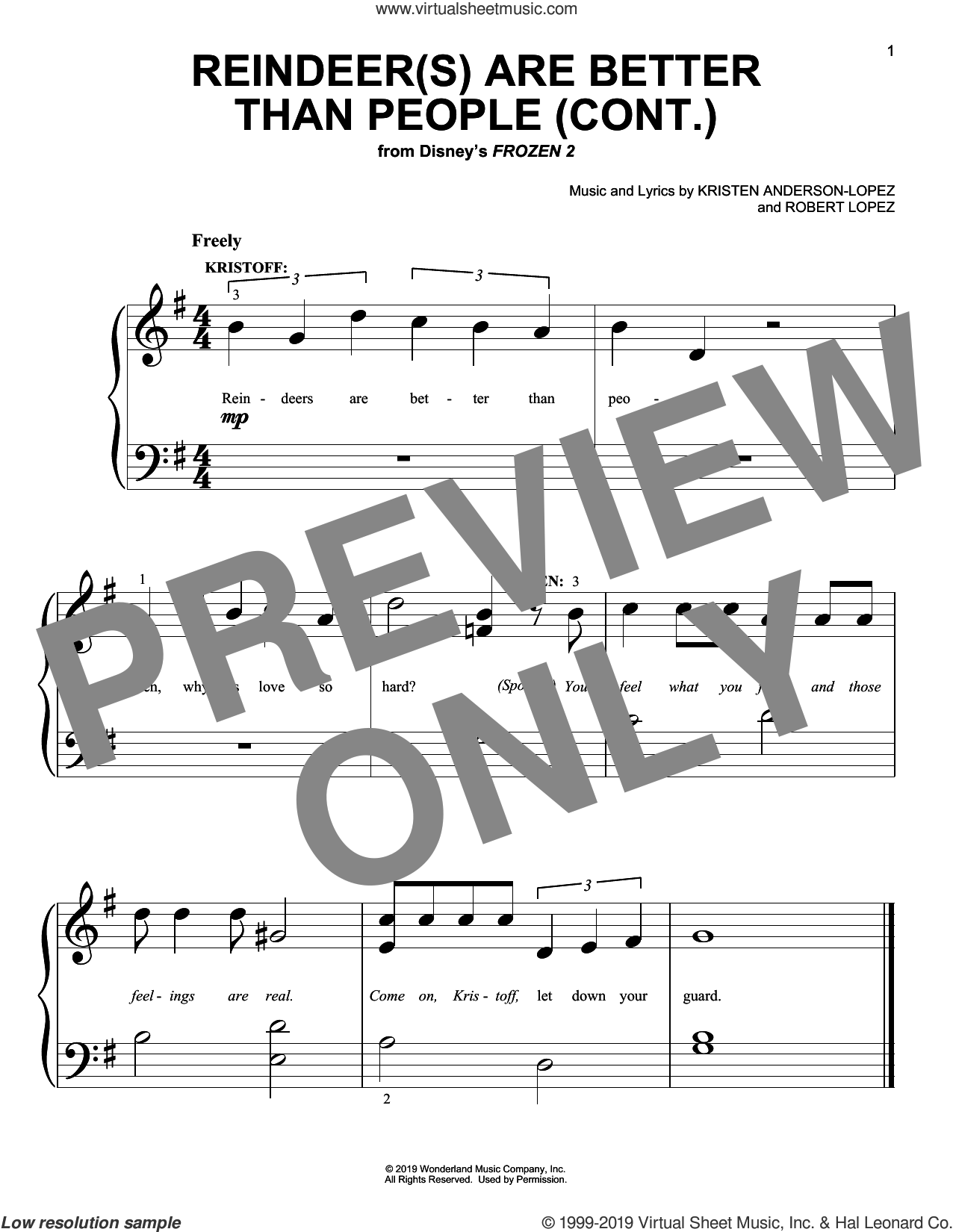 Reindeer(s) Are Better Than People (Cont.) (from Disney's Frozen 2) sheet music for piano solo (big note book) by Jonathan Groff, Kristen Anderson-Lopez and Robert Lopez, easy piano (big note book)