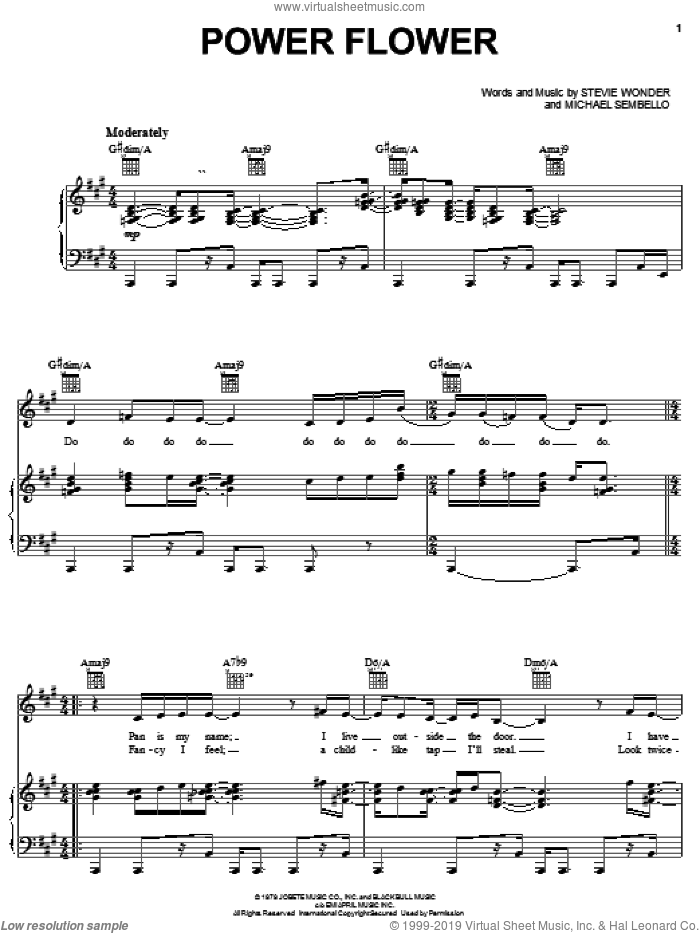 Power Flower sheet music for voice, piano or guitar by Stevie Wonder and Michael Sembello, intermediate skill level