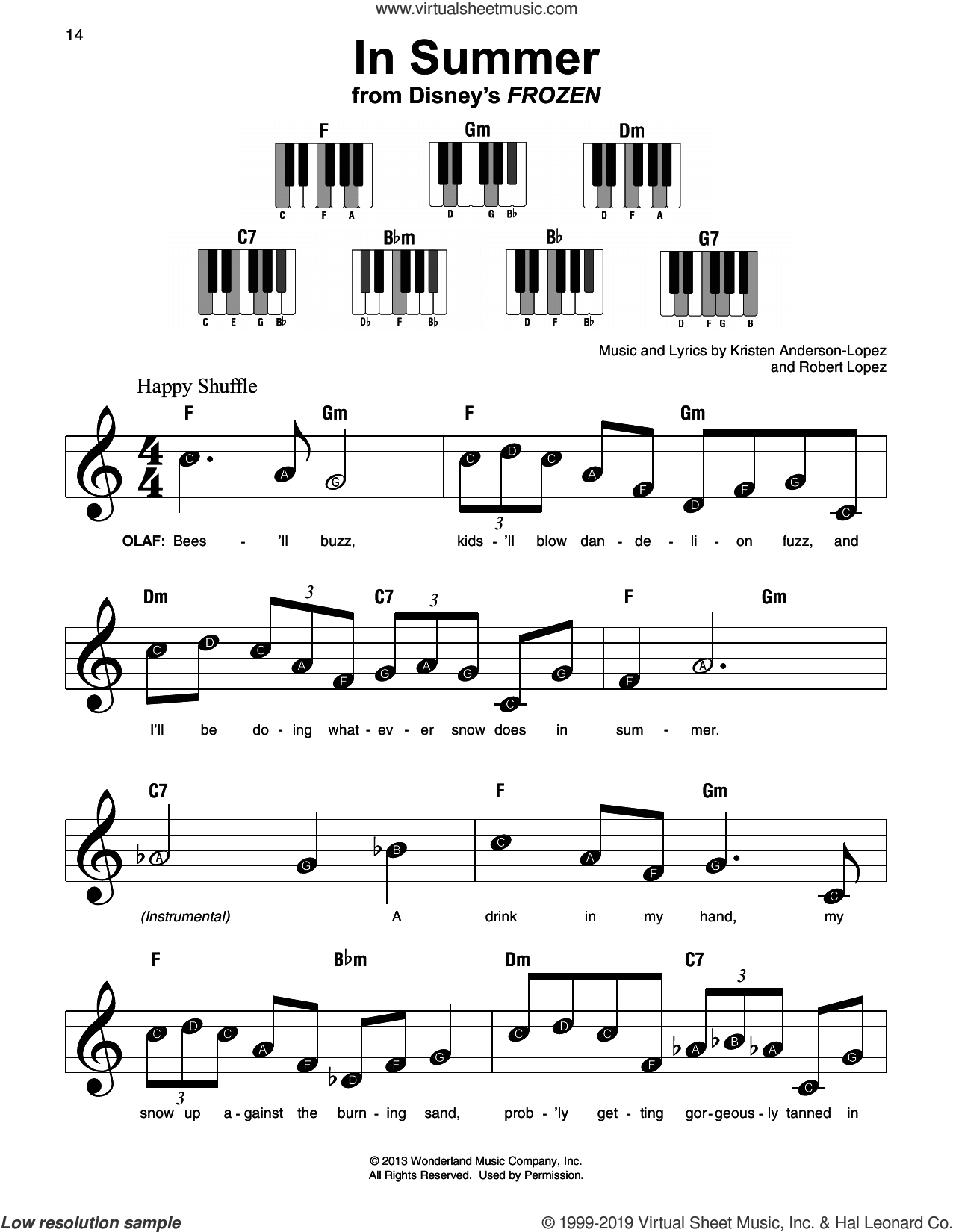 In Summer (from Disney's Frozen) sheet music for piano solo by Josh Gad, Kristen Anderson-Lopez and Robert Lopez, beginner skill level