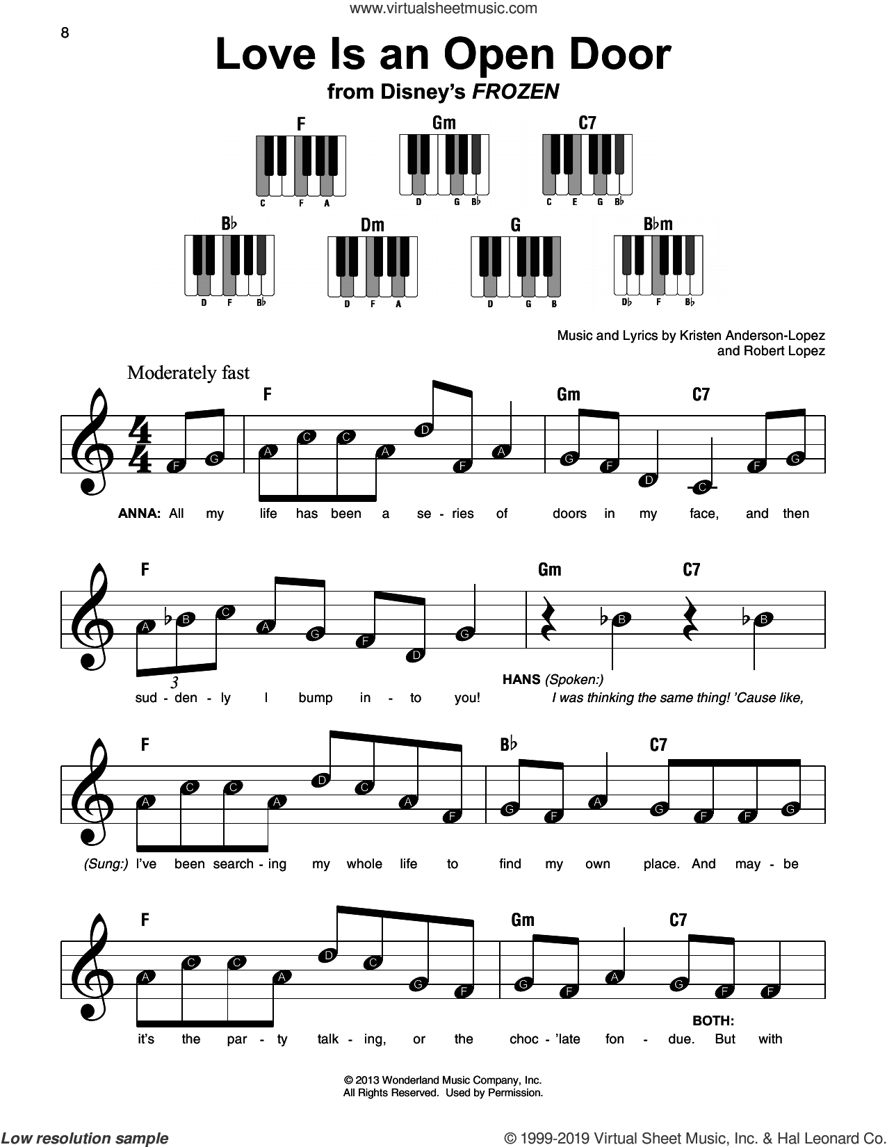 Love Is An Open Door (from Disney's Frozen) sheet music for piano solo by Kristen Bell & Santino Fontana, Kristen Anderson-Lopez and Robert Lopez, beginner skill level