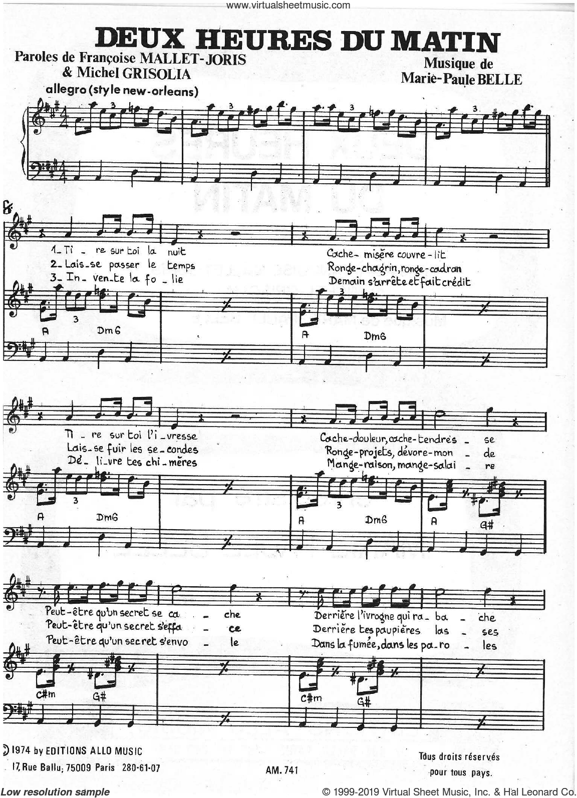 Deux Heures Du Matin sheet music for voice and piano by Marie Paule Belle, Francoise Mallet-Joris, Michel Grisolia and Michel Grisolia, Francoise Mallet-Joris and Marie Paule Belle, classical score, intermediate skill level