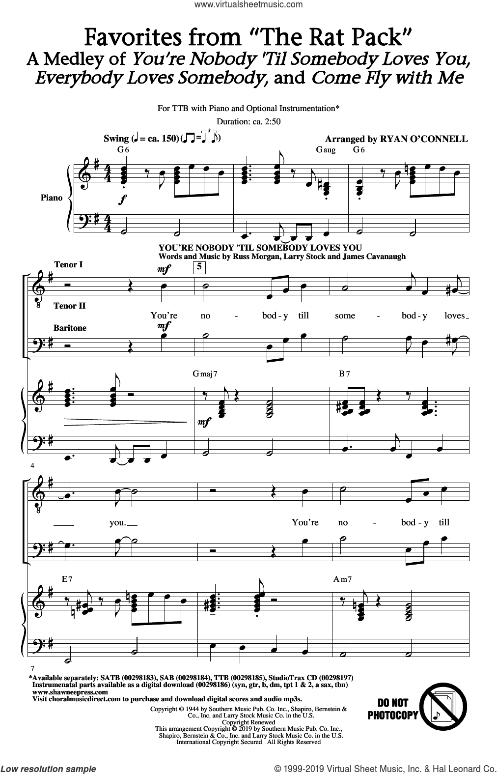 Favorites from 'The Rat Pack' (arr. Ryan O'Connell) sheet music for choir (TTBB: tenor, bass) by The Rat Pack, Irving Taylor, James Cavanaugh, Jimmy van Heusen, Ken Lane, Larry Stock, Russ Morgan and Sammy Cahn, intermediate skill level