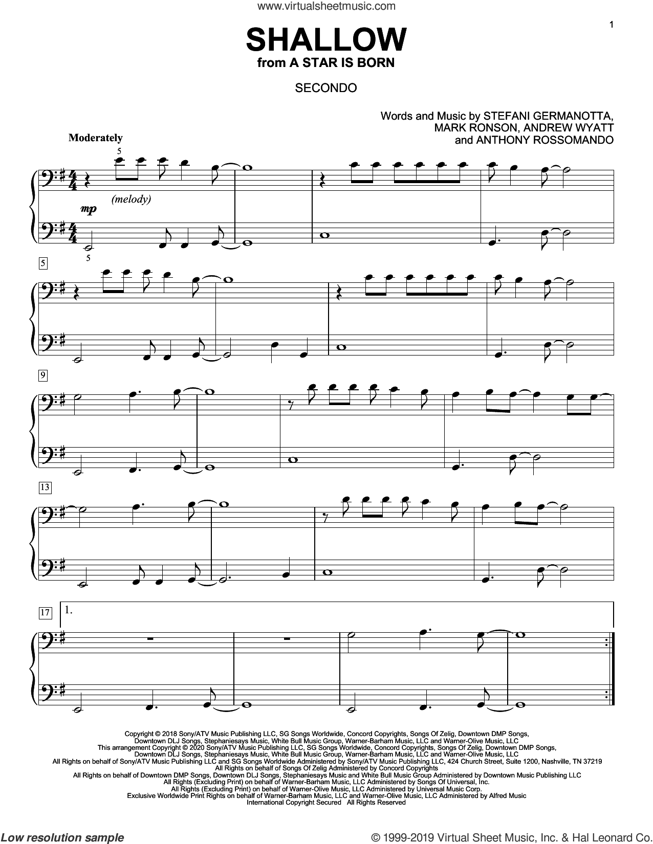 Shallow (from A Star Is Born) (arr. David Pearl) sheet music for piano four hands by Lady Gaga & Bradley Cooper, David Pearl, Andrew Wyatt, Anthony Rossomando, Lady Gaga and Mark Ronson, intermediate skill level