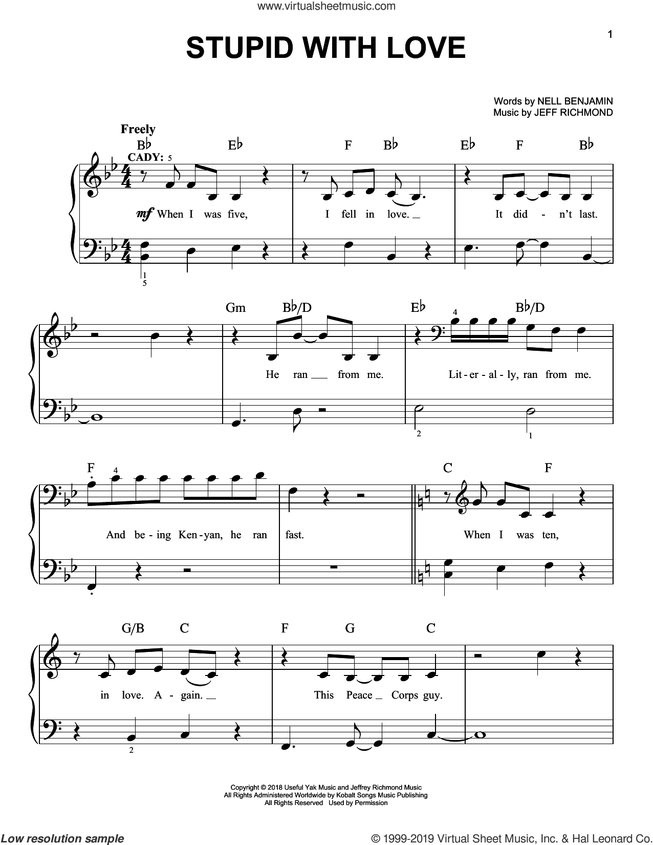 Stupid With Love (from Mean Girls: The Broadway Musical) sheet music for piano solo by Nell Benjamin, Jeff Richmond and Jeff Richmond & Nell Benjamin, easy skill level