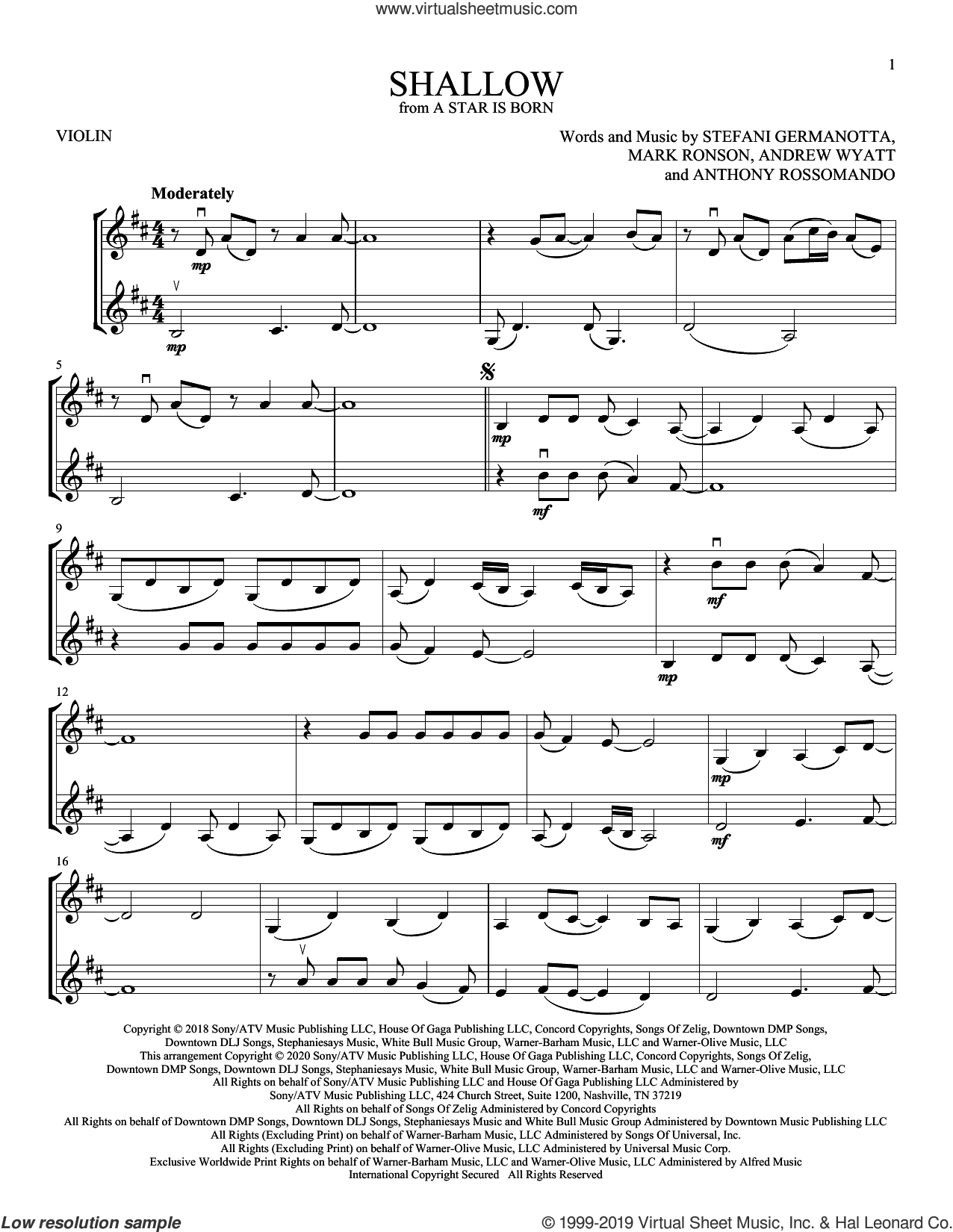 Shallow (from A Star Is Born) sheet music for two violins (duets, violin duets) by Lady Gaga, Andrew Wyatt, Anthony Rossomando and Mark Ronson, intermediate skill level