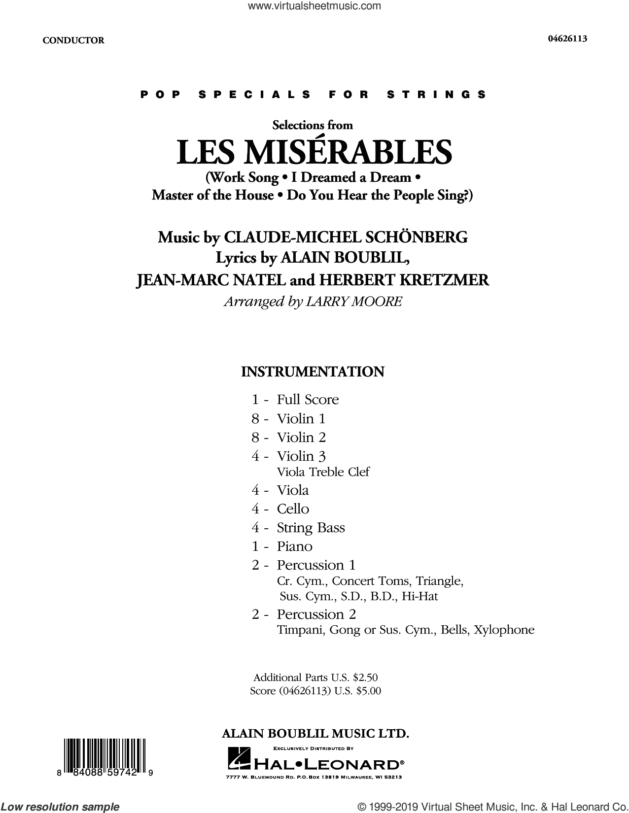 Selections from Les Miserables (arr. Larry Moore) (COMPLETE) sheet music for orchestra by Alain Boublil, Boublil and Schonberg, Claude-Michel Schonberg, Herbert Kretzmer and Larry Moore, intermediate skill level