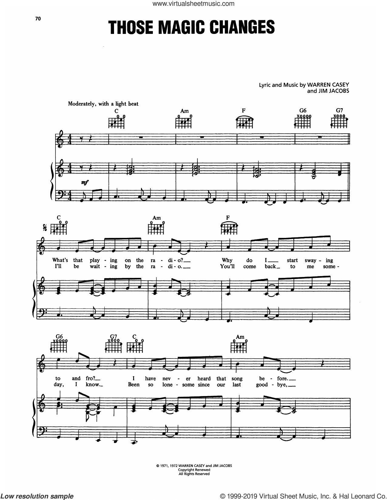 Those Magic Changes (from Grease) sheet music for voice, piano or guitar by Sha Na Na, Jim Jacobs and Warren Casey, intermediate skill level