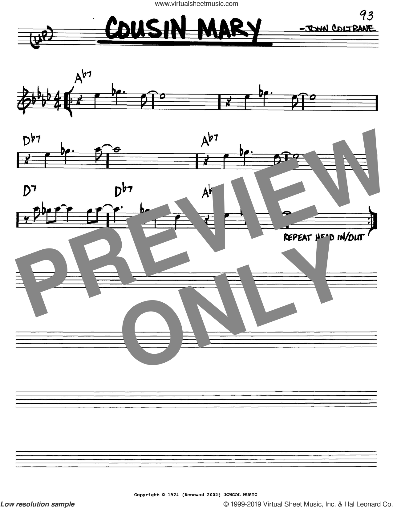 Cousin Mary sheet music for voice and other instruments (in C) by John Coltrane, intermediate skill level