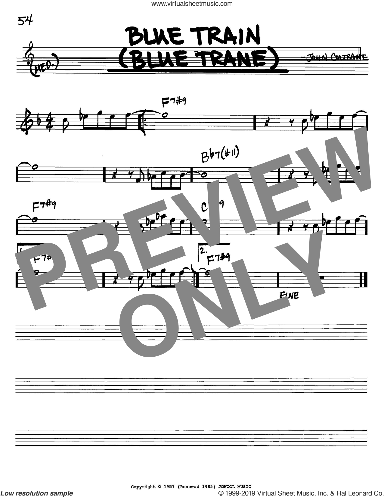 Blue Train (Blue Trane) sheet music for voice and other instruments (in Bb) by John Coltrane, intermediate skill level