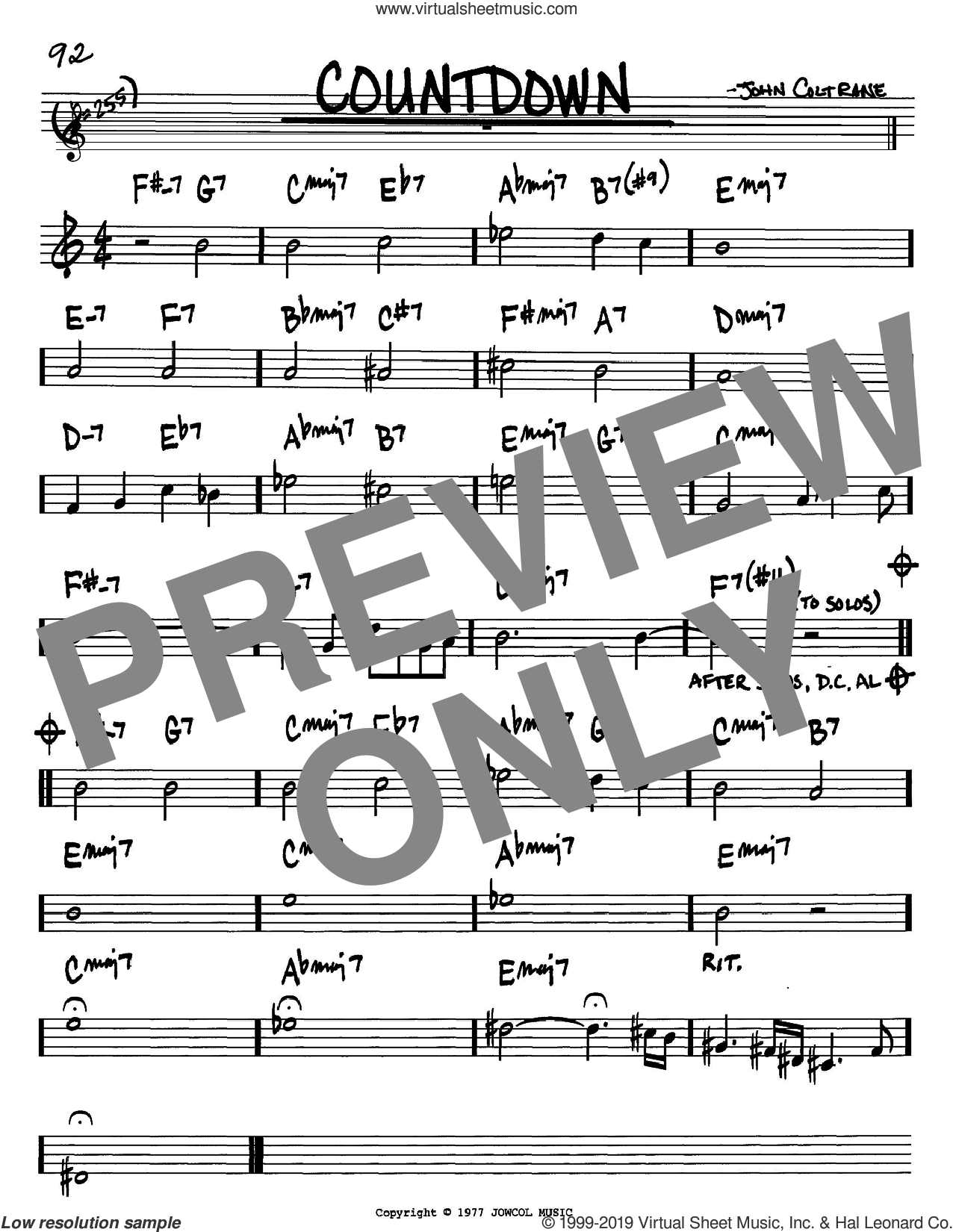 Countdown sheet music for voice and other instruments (in Bb) by John Coltrane, intermediate skill level