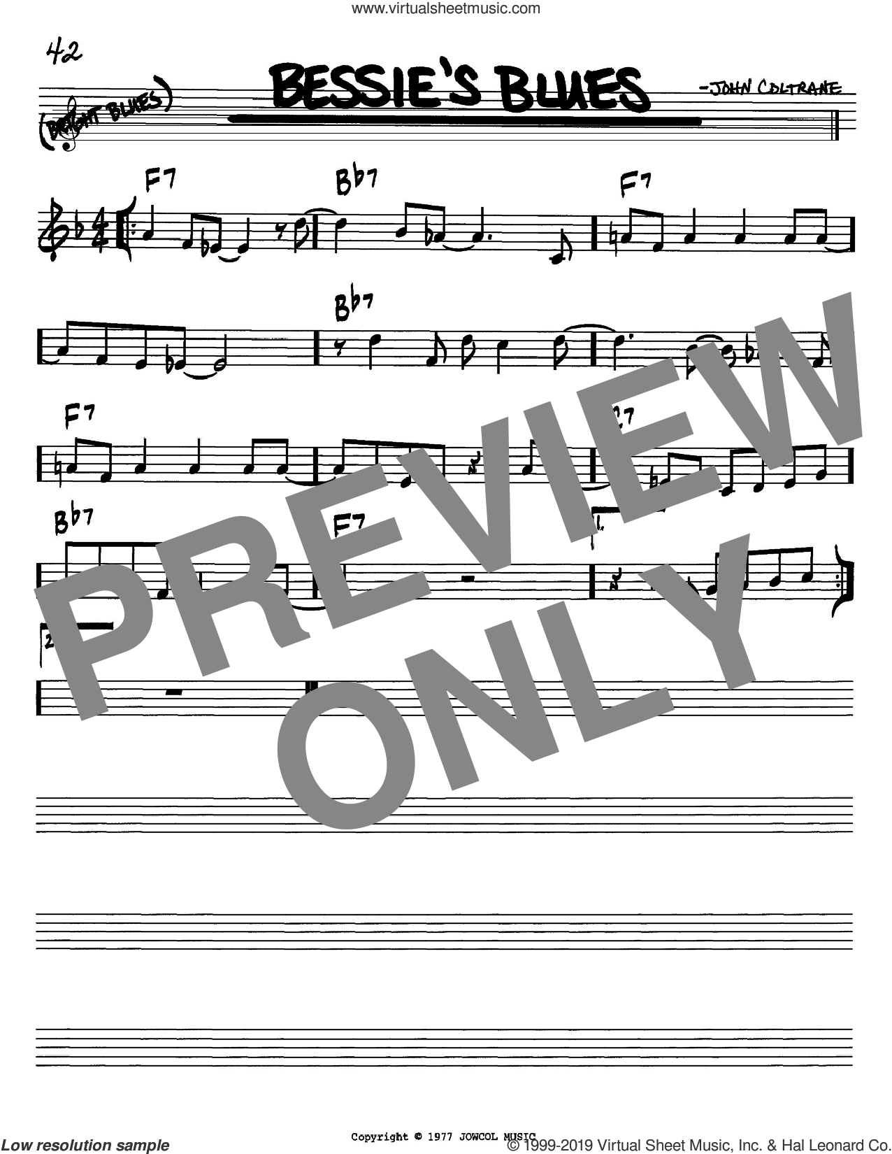 Bessie's Blues sheet music for voice and other instruments (in Bb) by John Coltrane, intermediate skill level