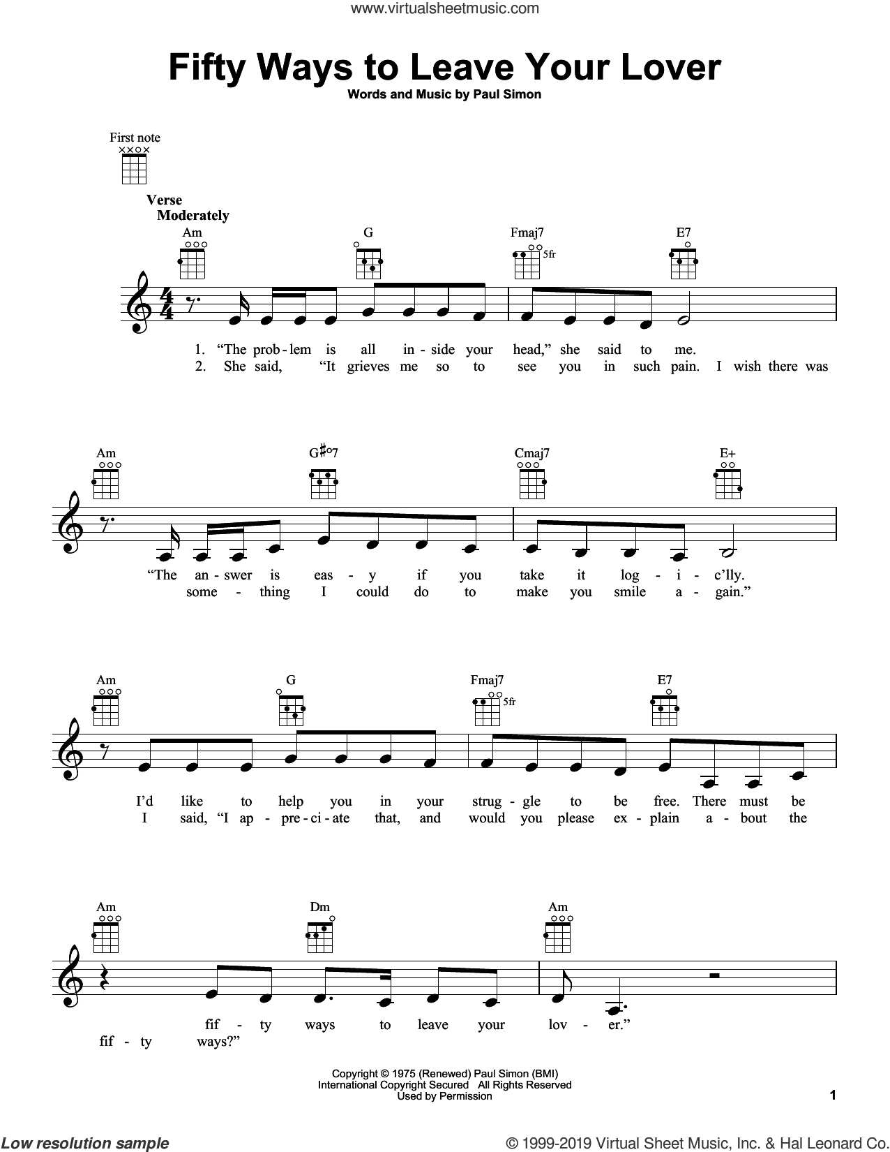 Fifty Ways To Leave Your Lover sheet music for ukulele by Paul Simon and Simon & Garfunkel, intermediate skill level