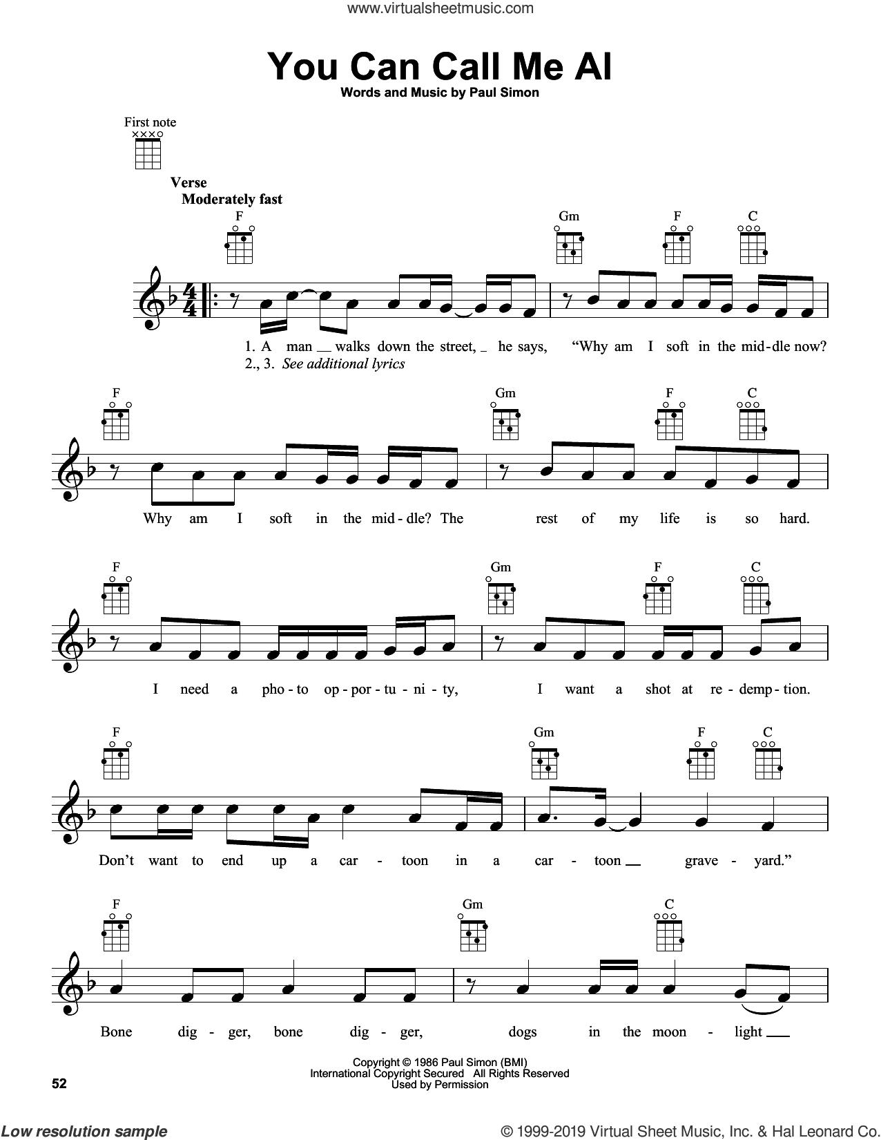 You Can Call Me Al sheet music for ukulele by Paul Simon and Simon & Garfunkel, intermediate skill level