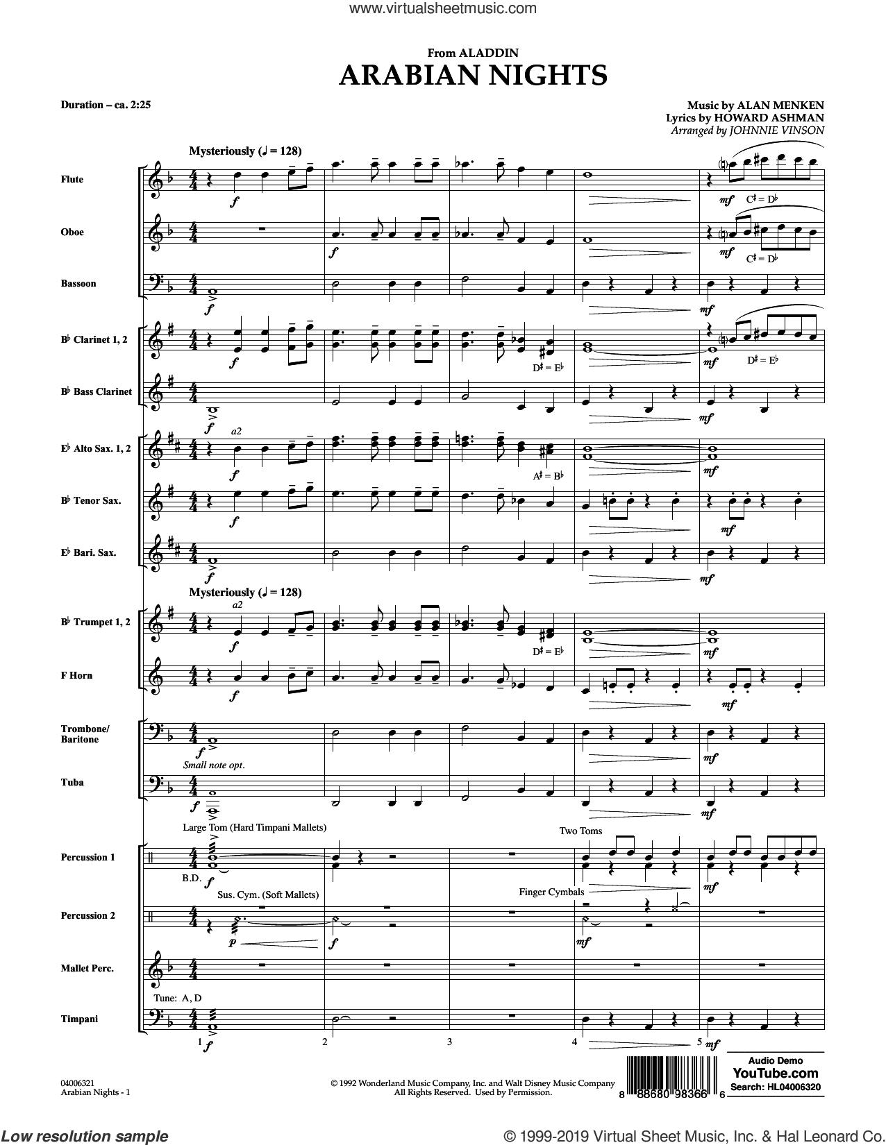 Arabian Nights (from Disney's Aladdin) (arr. Johnnie Vinson) (COMPLETE) sheet music for concert band by Alan Menken, Howard Ashman and Johnnie Vinson, intermediate skill level