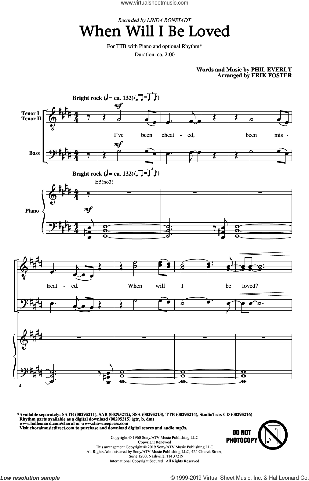 When Will I Be Loved (arr. Erik Foster) sheet music for choir (TTBB: tenor, bass) by Linda Ronstadt, Erik Foster and Phil Everly, intermediate skill level