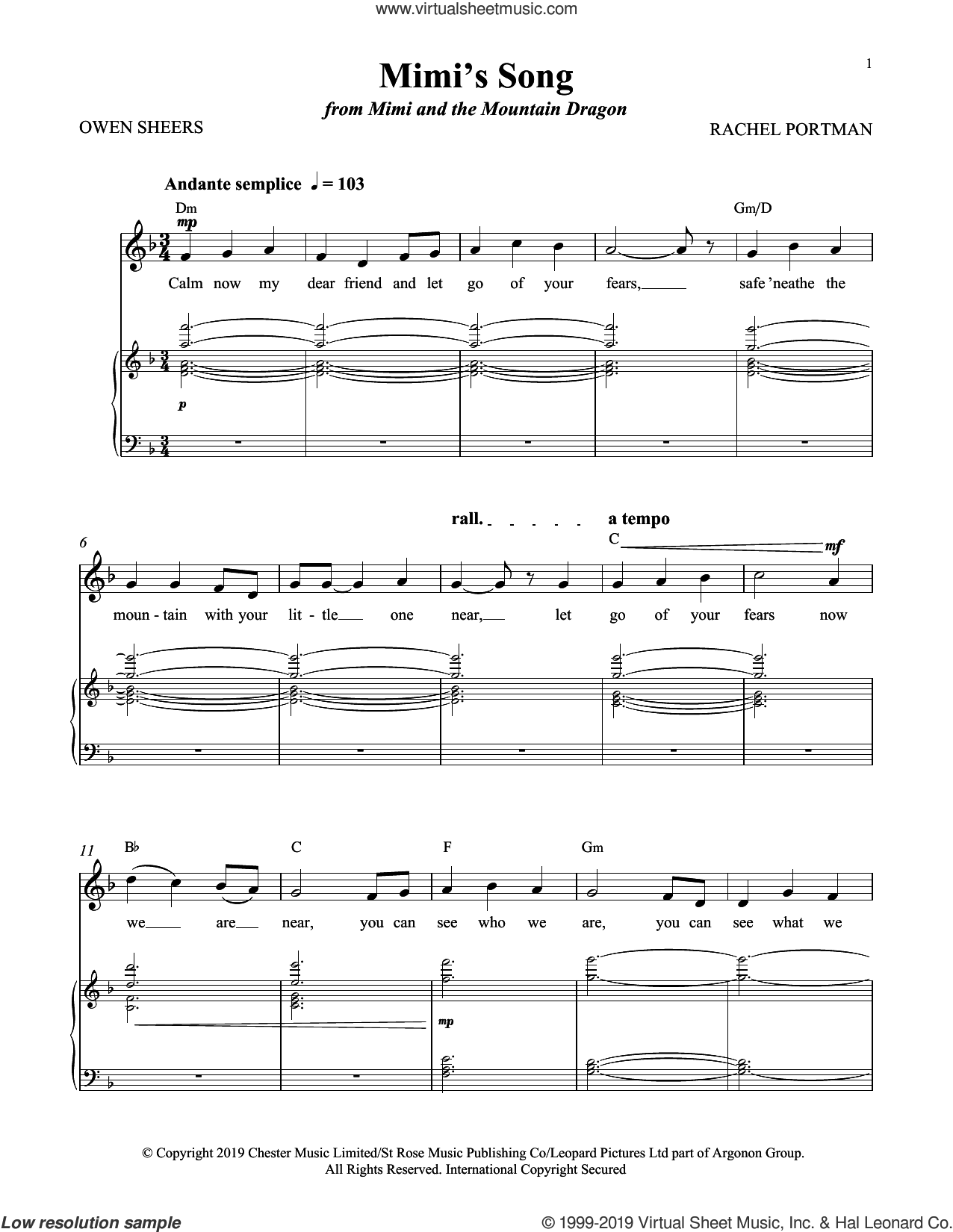 Mimi's Song (from Mimi and the Mountain Dragon) sheet music for voice and piano by Rachel Portman and Owen Sheers, intermediate skill level