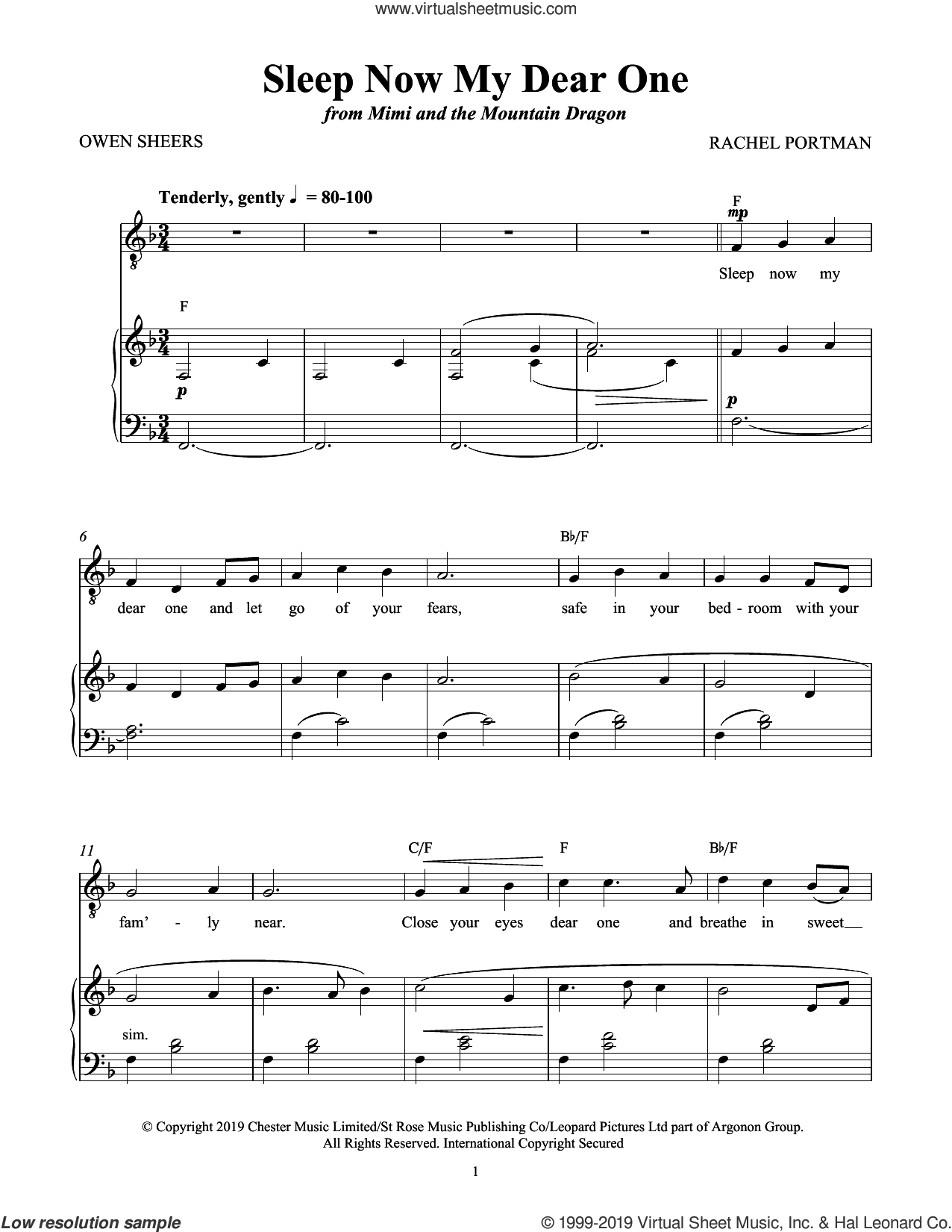 Sleep Now My Dear One (from Mimi and the Mountain Dragon) sheet music for voice and piano by Rachel Portman and Owen Sheers, intermediate skill level