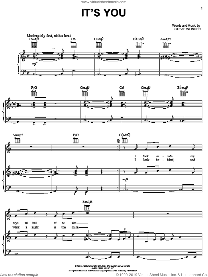 It's You sheet music for voice, piano or guitar by Stevie Wonder, intermediate skill level