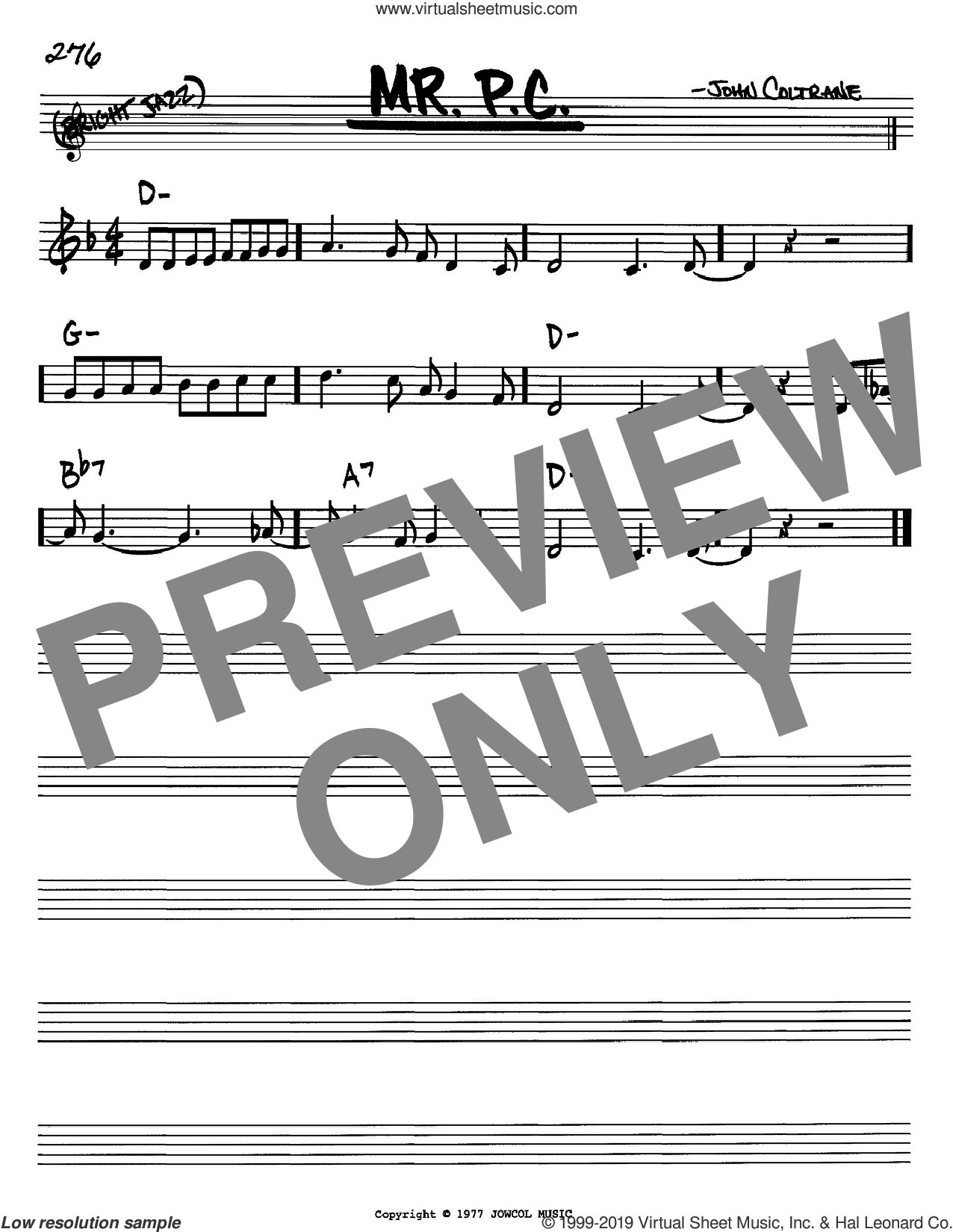 Mr. P.C. sheet music for voice and other instruments (in Bb) by John Coltrane, intermediate skill level