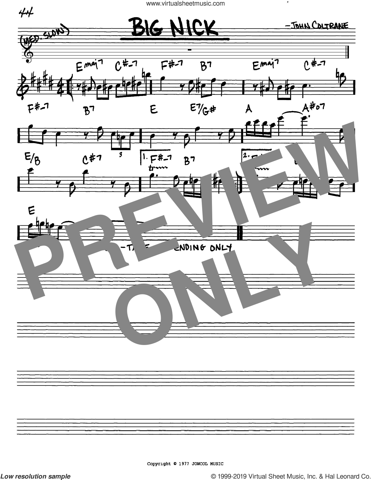 Big Nick sheet music for voice and other instruments (in Eb) by John Coltrane, intermediate skill level