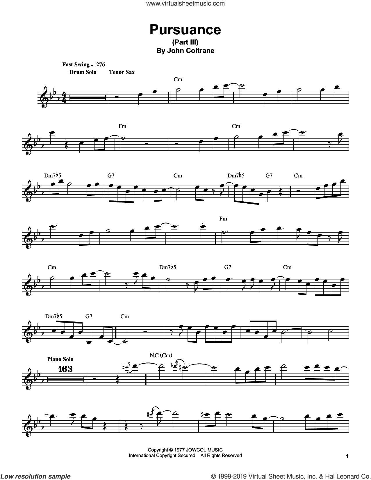 Pursuance sheet music for tenor saxophone solo (transcription) by John Coltrane, intermediate tenor saxophone (transcription)