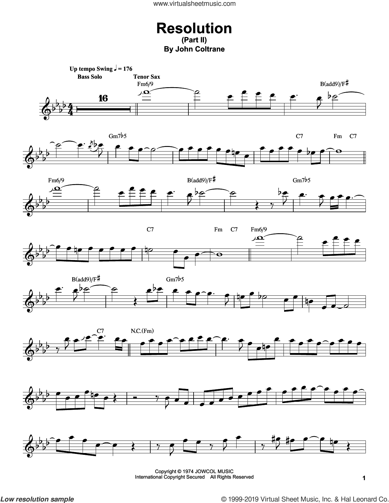 Resolution (Part II) sheet music for tenor saxophone solo (transcription) by John Coltrane, intermediate tenor saxophone (transcription)