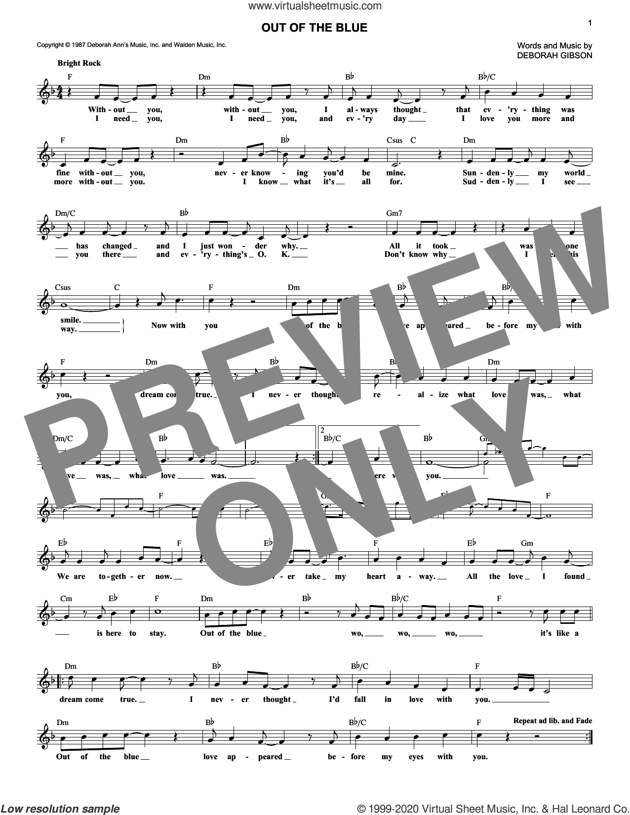 Out Of The Blue sheet music for voice and other instruments (fake book) by Debbie Gibson and Deborah Gibson, intermediate skill level