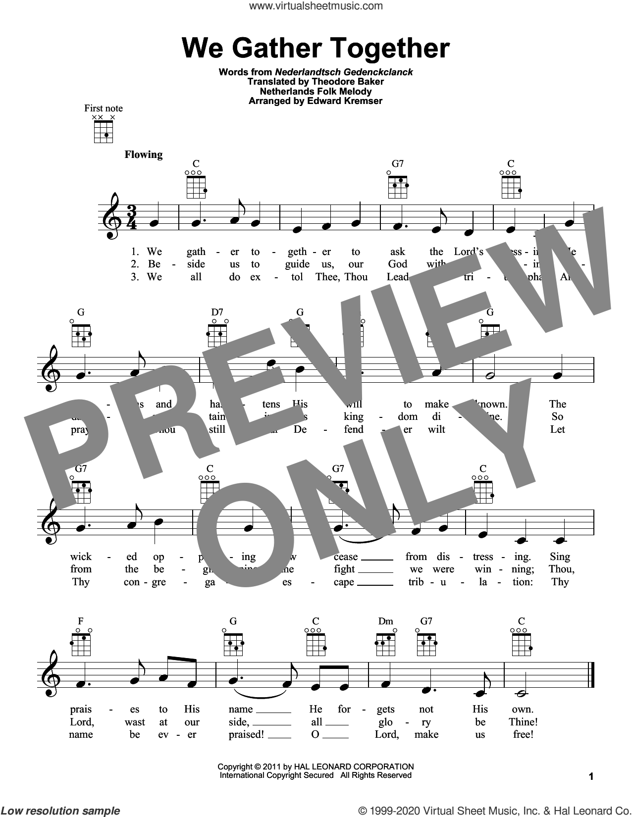 We Gather Together (arr. Eduard Kremser) sheet music for ukulele by Nederlandtsch Gedenckclanck, Eduard Kremser, Theodore Baker and Miscellaneous, classical score, intermediate skill level