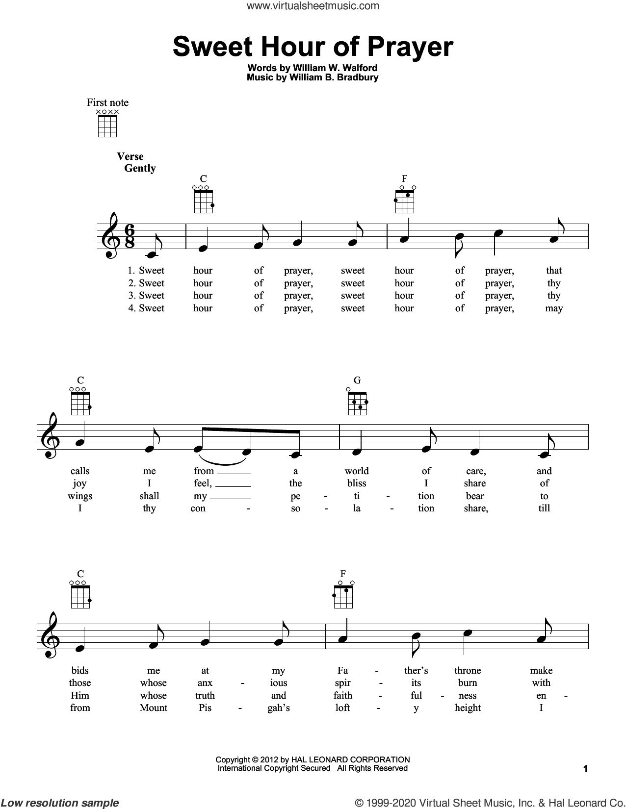 Sweet Hour Of Prayer sheet music for ukulele by William B. Bradbury, William W. Walford and William W. Walford and William B. Bradbury, intermediate skill level