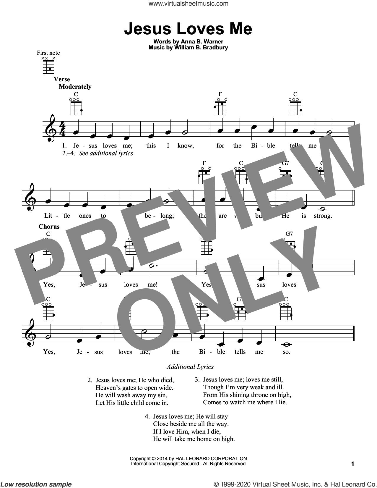 Jesus Loves Me sheet music for ukulele by William B. Bradbury, Anna B. Warner and Anna B. Warner and William B. Bradbury, intermediate skill level