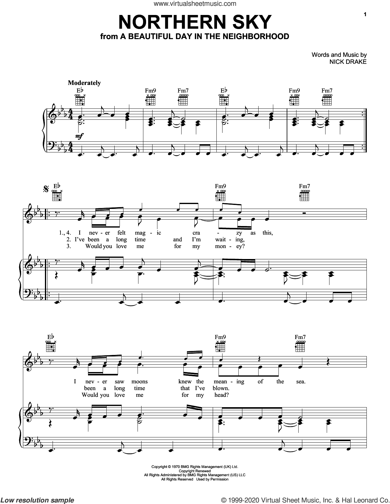 Northern Sky (from A Beautiful Day in the Neighborhood) sheet music for voice, piano or guitar by Nick Drake, intermediate skill level