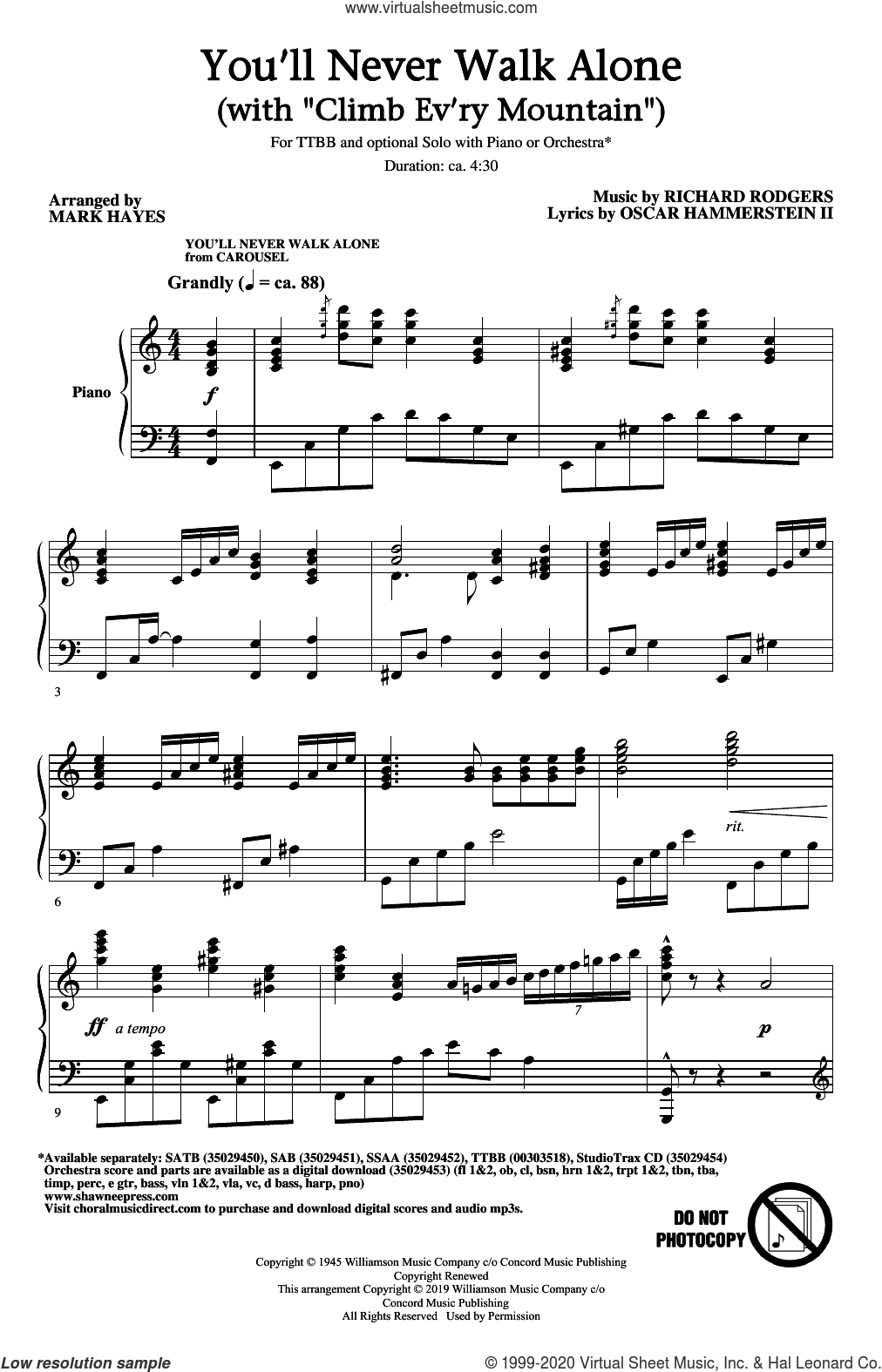 You'll Never Walk Alone (with 'Climb Ev'ry Mountain') (arr. Mark Hayes) sheet music for choir (TTBB: tenor, bass) by Richard Rodgers, Mark Hayes, Oscar II Hammerstein and Rodgers & Hammerstein, intermediate skill level