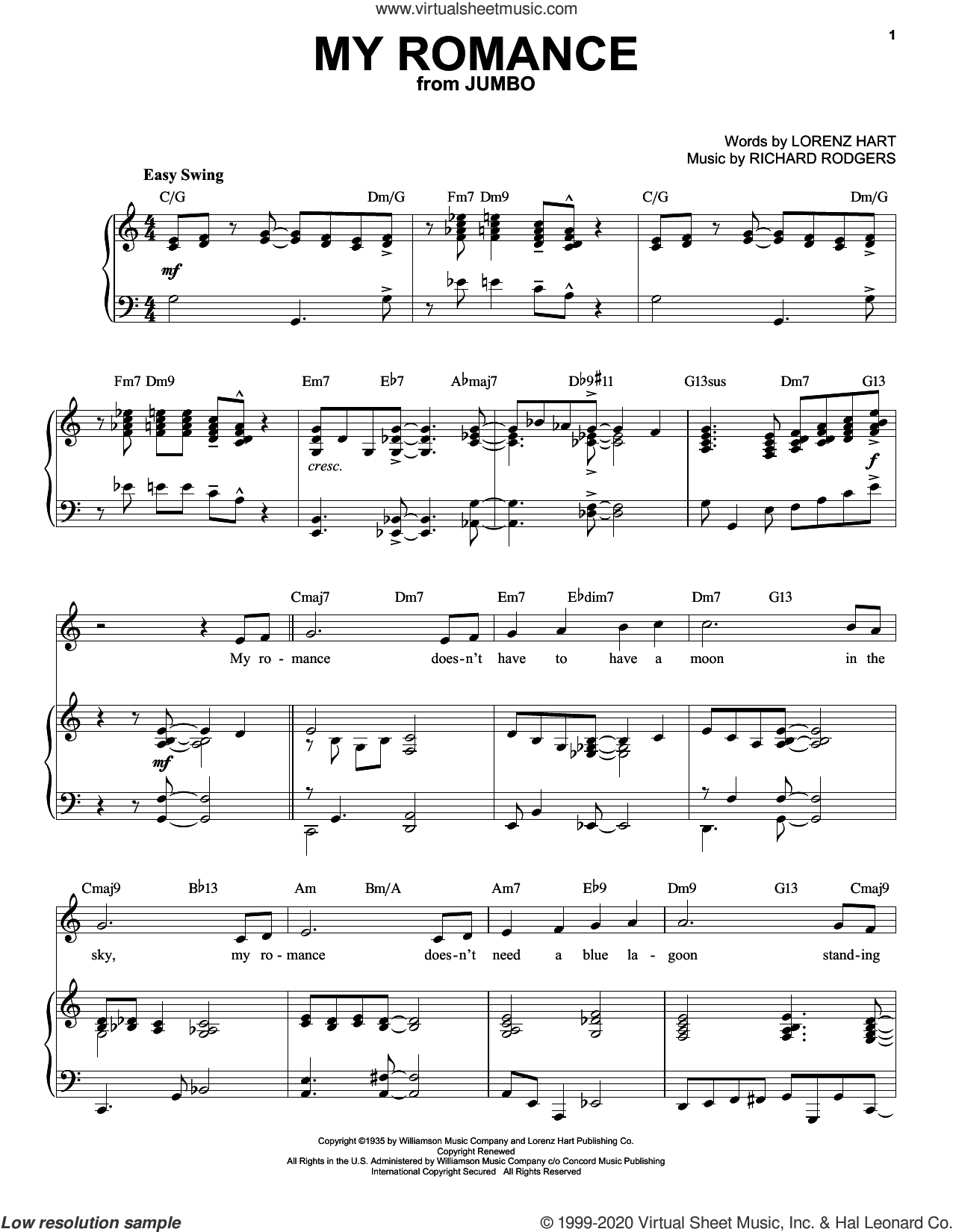 My Romance [Jazz version] (from Jumbo) (arr. Brent Edstrom) sheet music for voice and piano (High Voice) by Richard Rodgers, Lorenz Hart and Rodgers & Hart, intermediate skill level