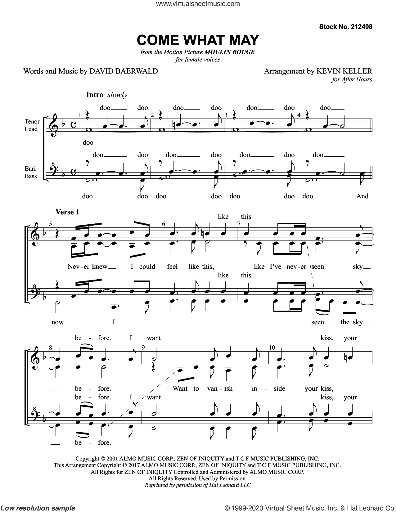 Come What May (from Moulin Rouge) (arr. Kevin Keller) sheet music for choir (SSAA: soprano, alto) by Nicole Kidman & Ewan McGregor, Kevin Keller and David Baerwald, intermediate skill level
