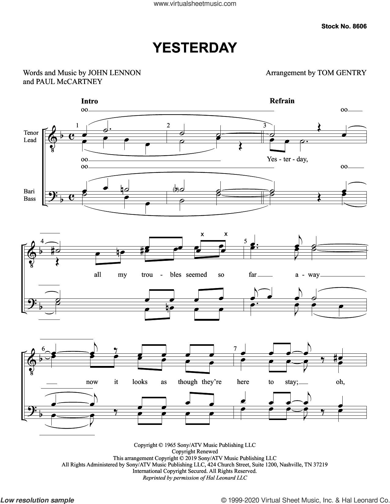Yesterday (arr. Tom Gentry) sheet music for choir (TTBB: tenor, bass) by The Beatles, Tom Gentry, John Lennon and Paul McCartney, intermediate skill level
