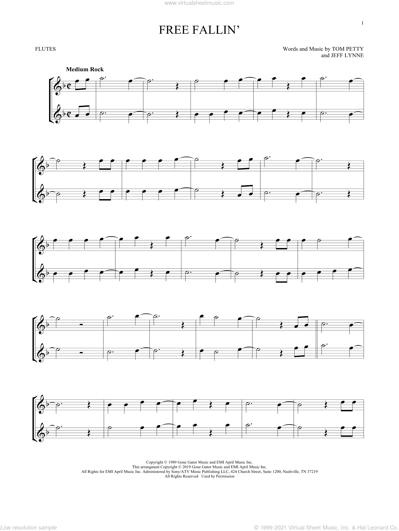 Free Fallin' sheet music for two flutes (duets) by Tom Petty and Jeff Lynne, intermediate skill level