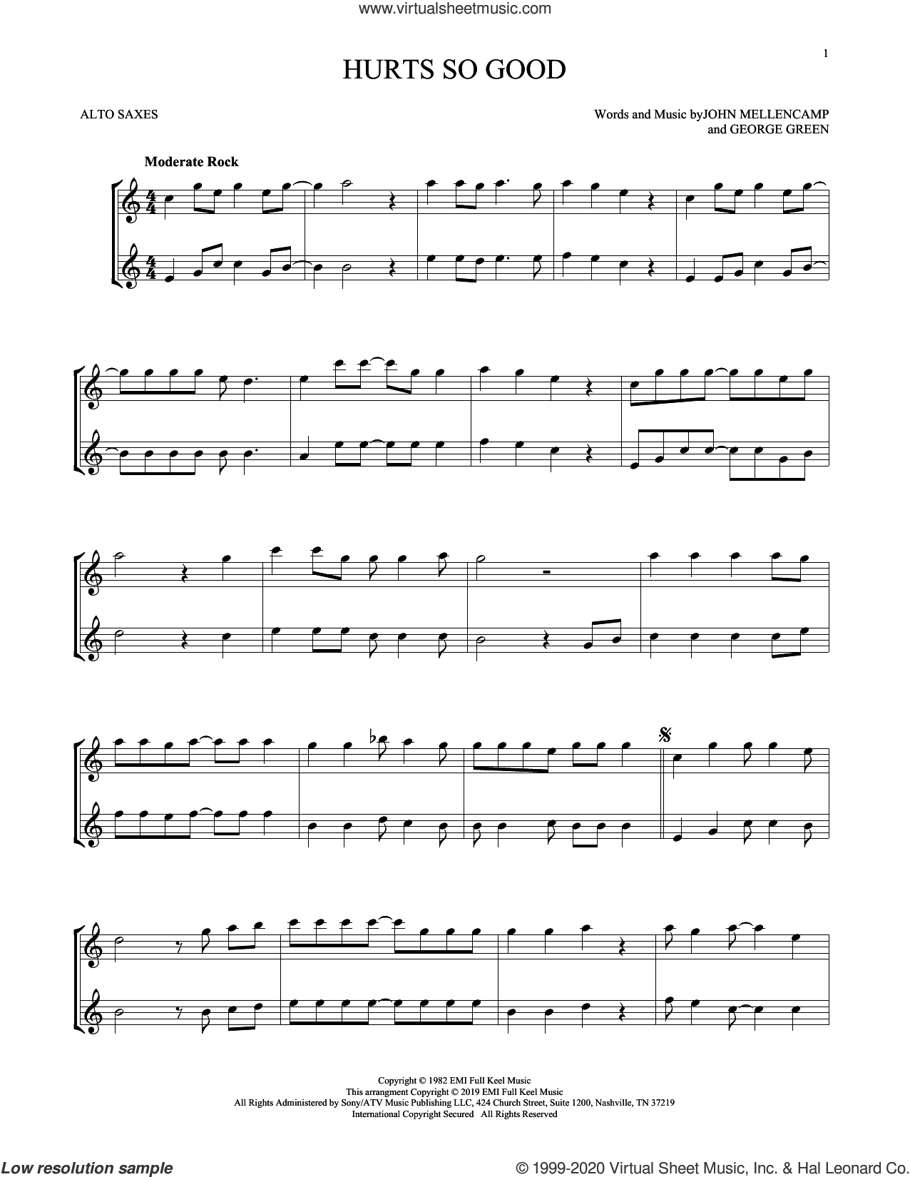 Hurts So Good sheet music for two alto saxophones (duets) by John Mellencamp and George Green, intermediate skill level