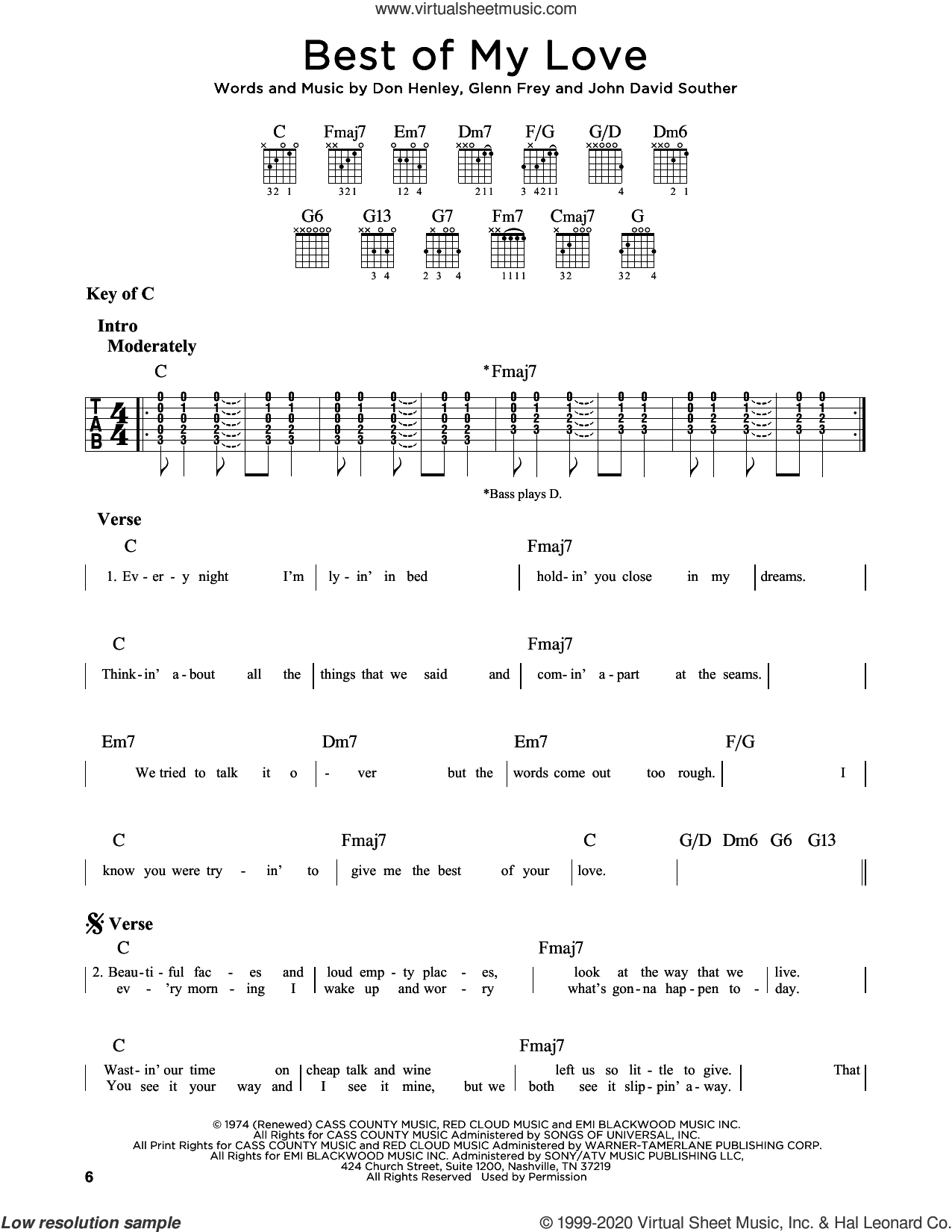 Best Of My Love sheet music for guitar solo (lead sheet) by The Eagles, Don Henley, Glenn Frey and John David Souther, intermediate guitar (lead sheet)
